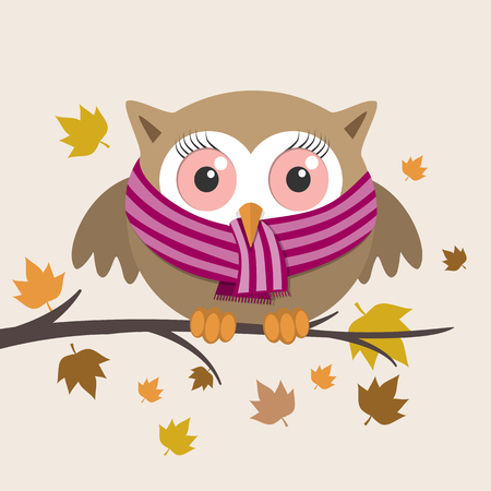 owl illustration: Female owl with scarf on a fall day. Vector illustration Illustration