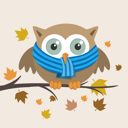 owl illustration: Male owl with scarf on a fall day. Vector illustration Illustration