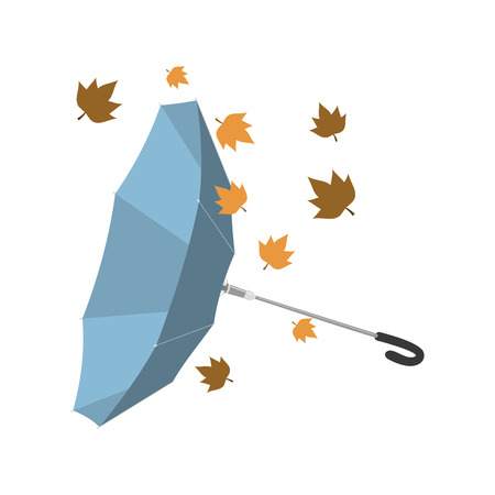 Isolated umbrella invested with autumn leaves. Vector illustration Ilustração