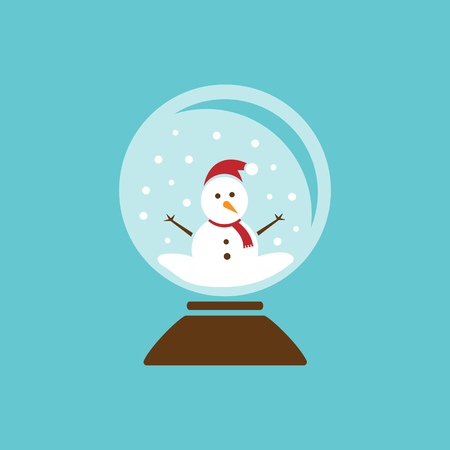 Colored glass ball icon with snow and snowman inside. Vector illustration Illustration