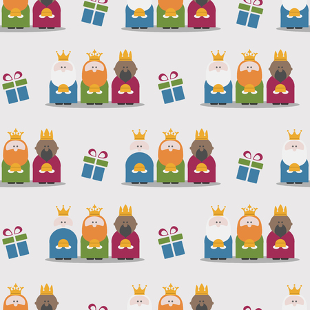 caspar: Three Kings and gifts seamless pattern. Flat vector Illustration