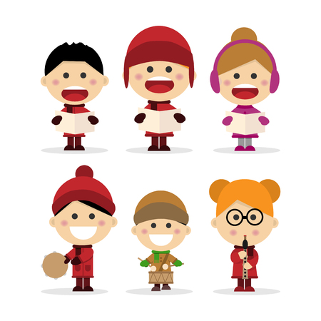 Group of children singing Christmas carols on white background. Vector illustration