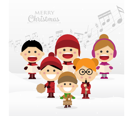 Group of children singing Christmas carols. Vector illustration