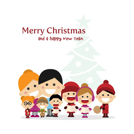 Cute family singing carols at Christmas Night with tree background. Vector illustration