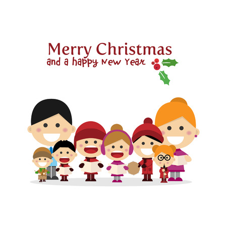 Cute family singing carols at Christmas Night. Vector illustration