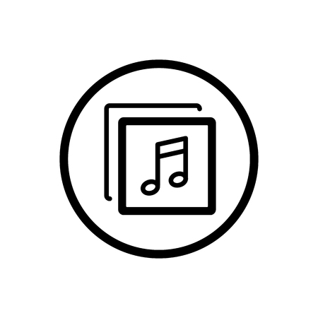 Music line icon in a cirlce and a white background. Vector illustration Stock Photo