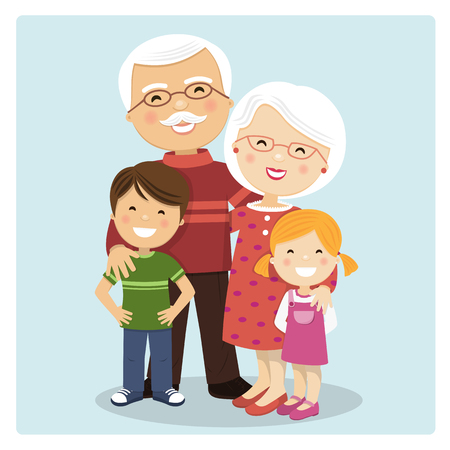 Happy grandparents with grandchildren on blue background. Vector illustration Stock Illustratie