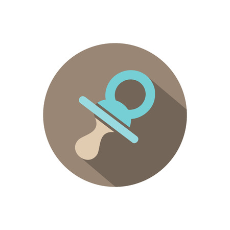 Pacifier icon on a circle with shade. Vector illustration