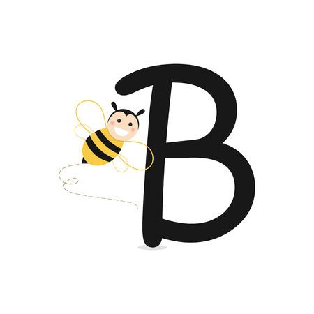 Letter B as Bee. Flat vector illustration Ilustração