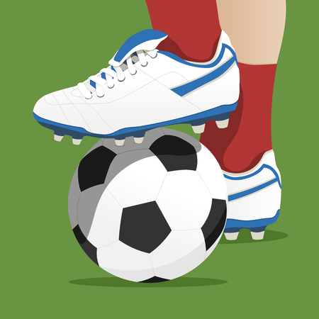 Footballer stepping on the ball in a soccer match. Vector illustration