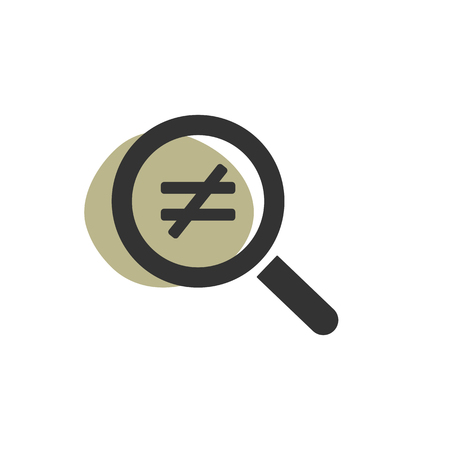 Magnifying glass inequality isolated web icon. Vector illustration Illustration