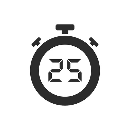 Isolated stopwatch icon with twenty five seconds. Vector illustration