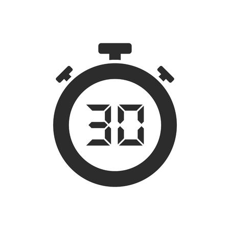 Icona del cronometro isolata con trenta secondi. Illustrazione vettoriale
