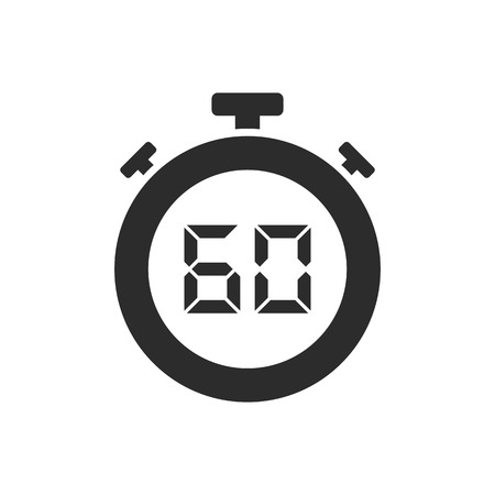 Isolated stopwatch icon with sixty seconds. Vector illustration