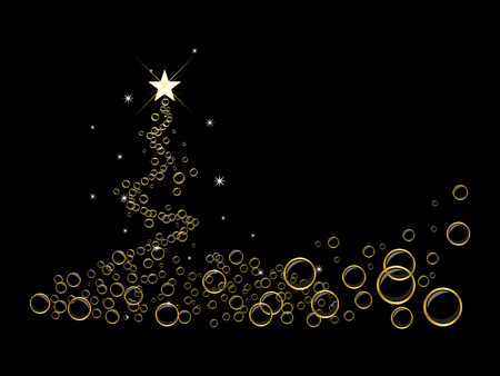 Black chirstmas tree background with bubbles. Vector illustration Illustration