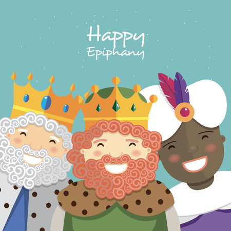 Happy three kings smiling on a green background. Vector illustration