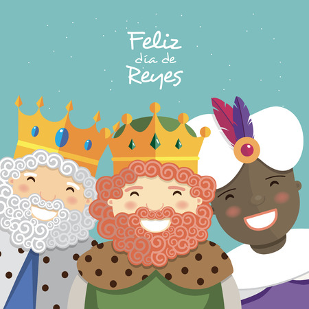 Happy three kings smiling and spanish text on a green background. Vector illustration Illustration