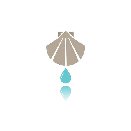Baptism flat color icon with reflection. Vector illustration