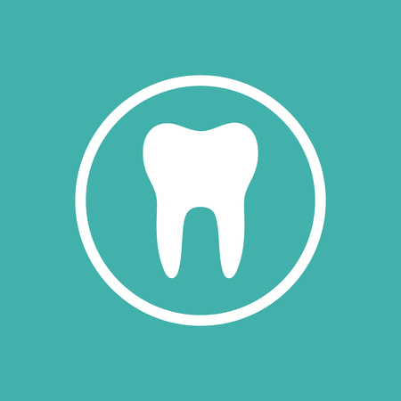Tooth flat icon with a circle on a green background. Vector illustration Stock Illustratie