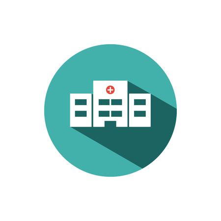 Hospital color icon with shadow on a turquoise color circle. Vector illustration Illustration