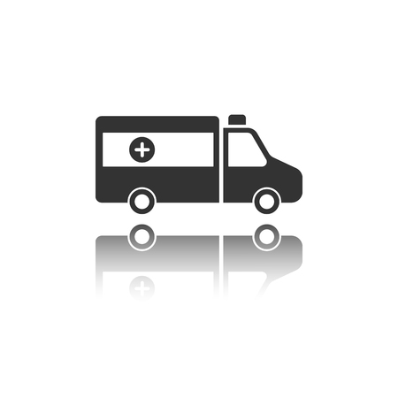 Isolated ambulance icon on a white background with reflection. Vector illustration