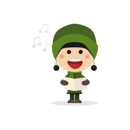 Christmas child singing carols on a white background. Vector illustration
