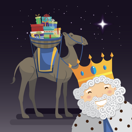 Three kings selfie with King Melchior, camel and gifts at night. Vector illustration