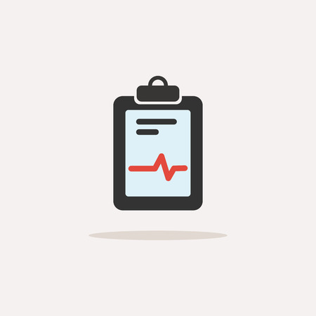 Medical chart color icon with shade. Cardiogram report. Heart graph. Vector illustration
