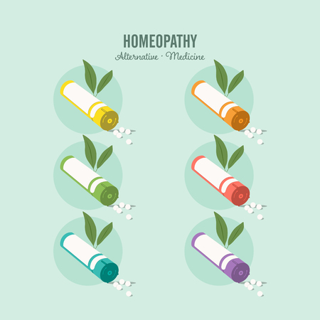 Homeopathic medicine set on a green background. Homeopathic pills. Alternative medicine. Vector illustration
