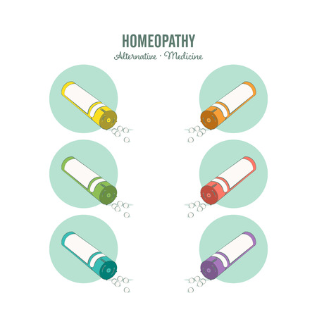 Homeopathic medicine line set on a white background. Homeopathic pills. Alternative medicine. Isolated Vector illustration