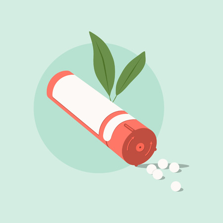 Homeopathic medicine on a green background. Homeopathic pills.Alternative medicine. Vector illustration