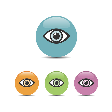 Eye icon set on a colored bubbles. Vector illustration Illustration