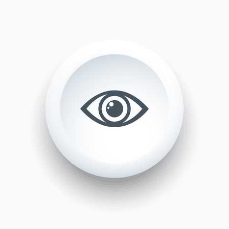 Eye icon on a white round button. Vector illustration