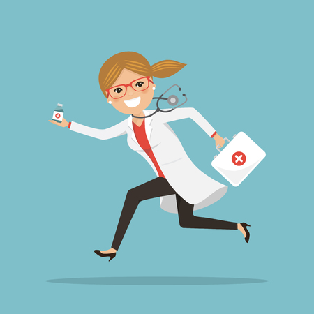 Emergency female doctor running to help with medicines. Hospital scene. Professional with stethoscope and briefcase. Vector illustration
