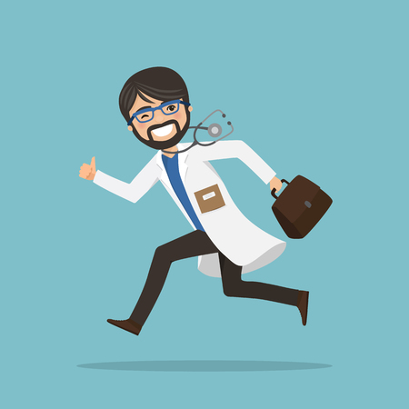 Emergency man doctor running to help with stethoscope showing ok gesture. Vector illustration