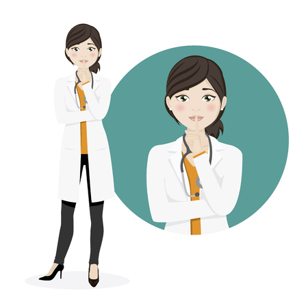 Woman doctor asking for silence on a white background. Vector illustration