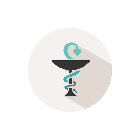 Pharmacy color icon with shadow on a beige circle. Snake symbol. Vector illustration
