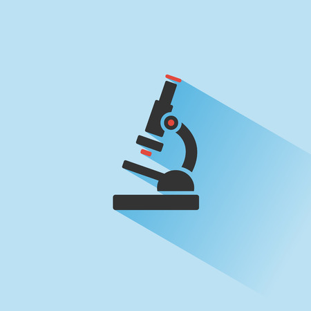 Microscope icon with shadow on a blue background. Science and research. Color vector illustration