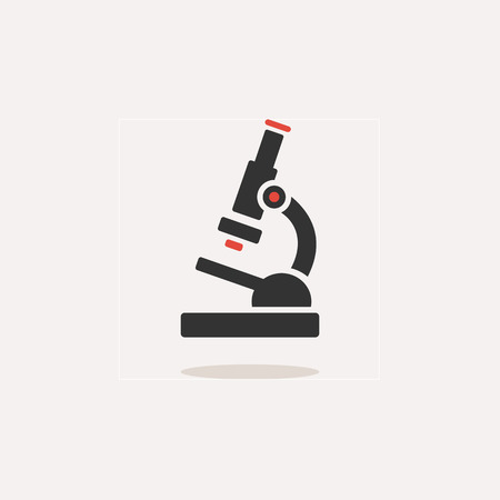 Microscope icon with shade on a beige background. Science and research. Color vector illustration