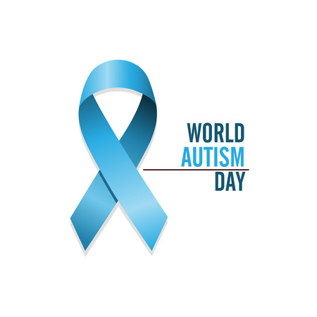Blue autism ribbon. International autism awareness day. Isolated vector illustration