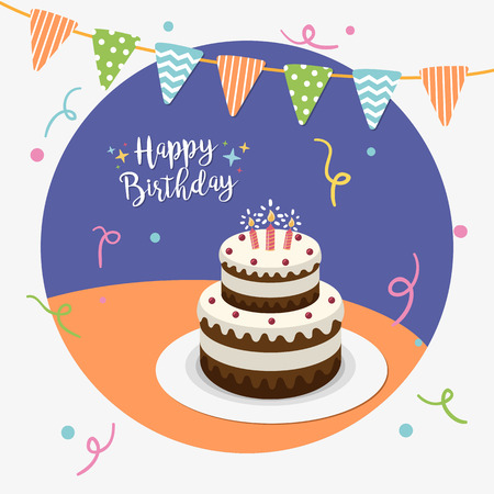 Happy birthday party greeting card. Vector illustration