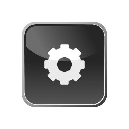 Gear icon on a square button. Vector illustration Illustration