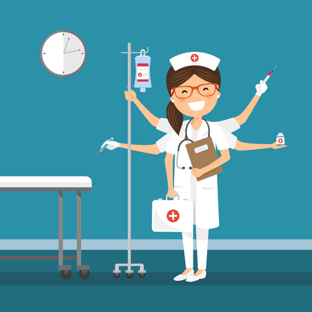 Nurse multitasking at the hospital. Medicine vector illustration