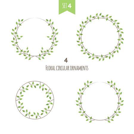 Floral circular ornaments fourth set. Four flat ivy vector illustration Иллюстрация
