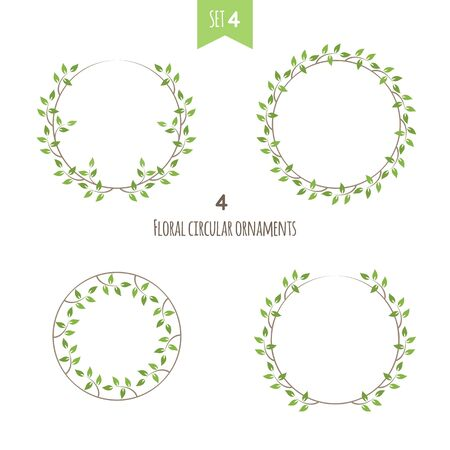 Kreisförmige florale Ornamente vierten Satz. Vier flache Efeu-Vektorillustration