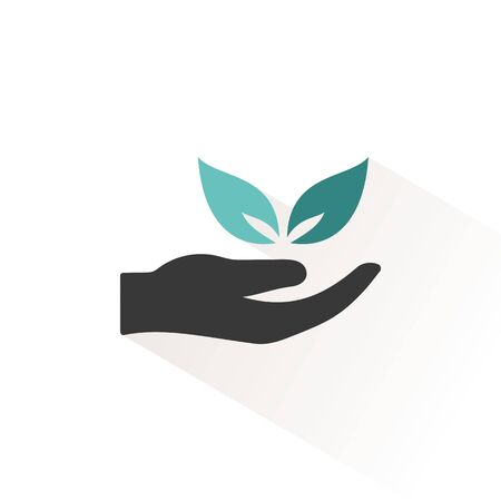 Hand and leaves. Flat color icon with beige shade. Ecology, pharmacy and nature vector illustration Иллюстрация