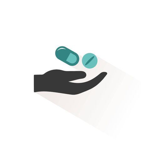 Hand and pills. Flat color icon with beige shade. Pharmacy and medicine vector illustration Иллюстрация