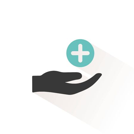 Hand with pharmacy cross. Flat color icon with beige shade. Medicine vector illustration