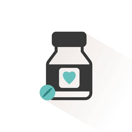 Heart pills. Flat color icon with beige shade. Pharmacy and medicine vector illustration Иллюстрация