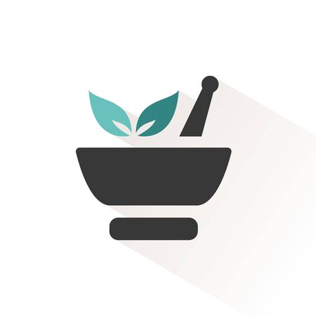Mortar with leaves. Flat color icon with beige shade. Pharmacy vector illustration